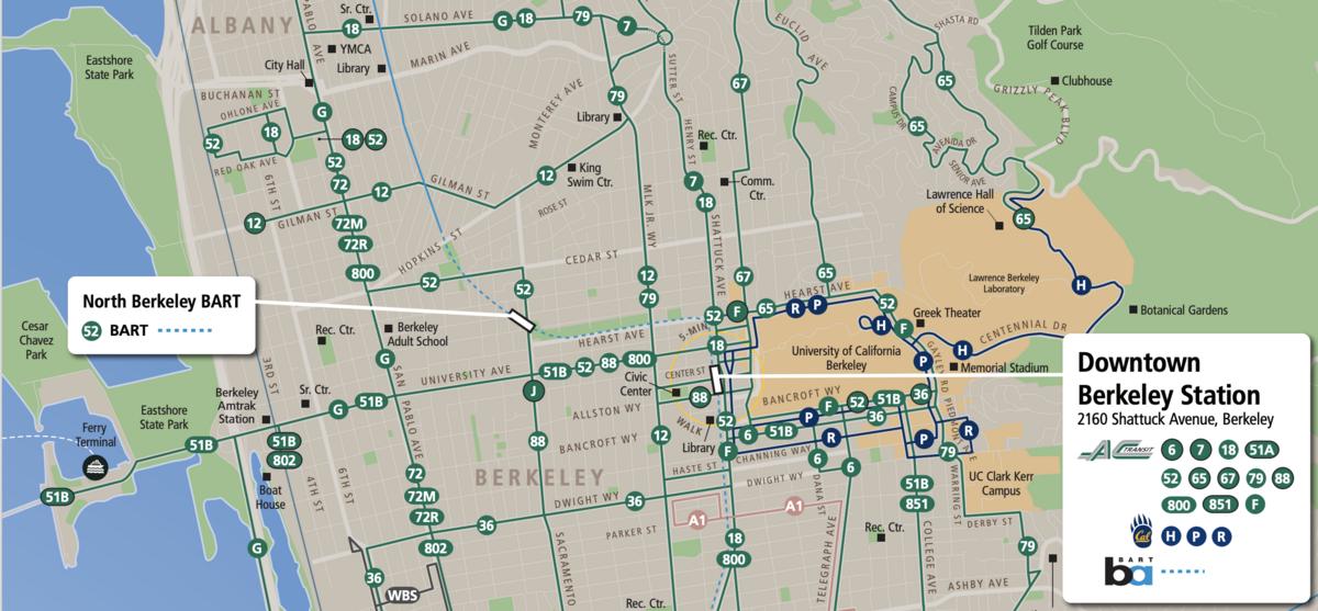 Public Transit Services Between Berkeley BART, North Berkeley BART, UC Berkeley, and UC Village