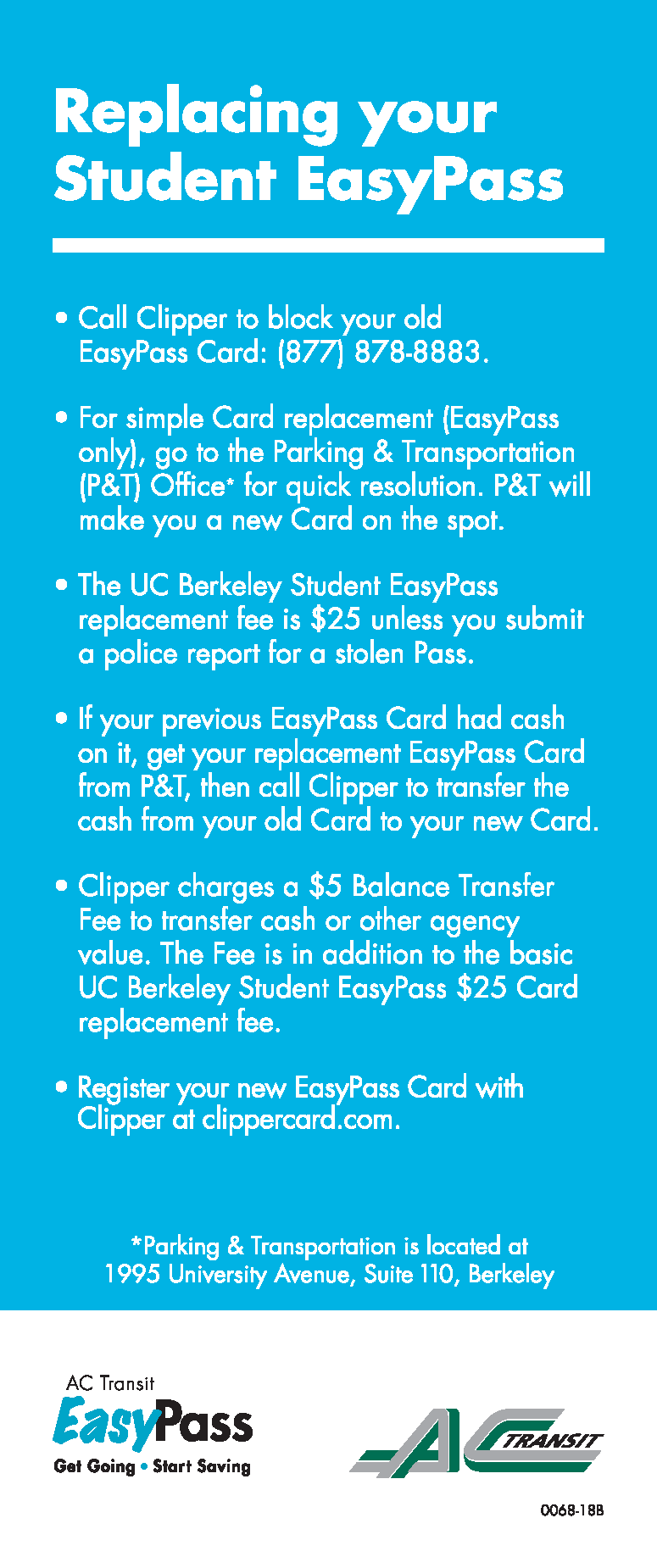 AC Transit Replace Student EasyPass