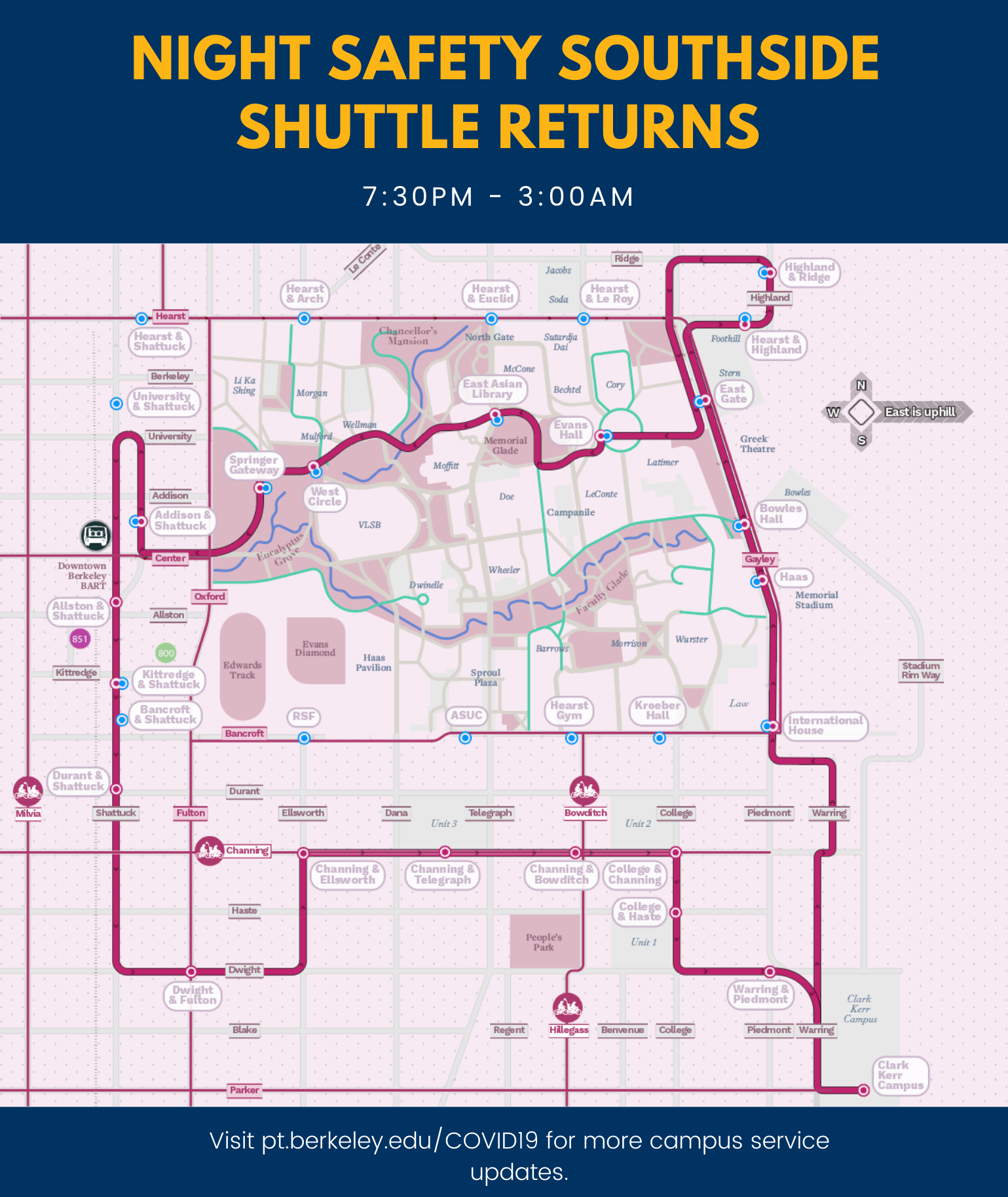 Night Safety Southside shuttle map