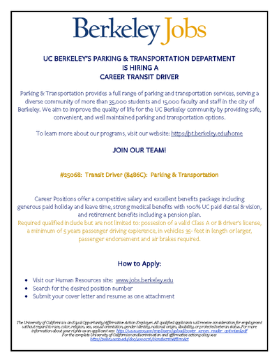We're Hiring for Transit Drivers! | Parking and Transportation